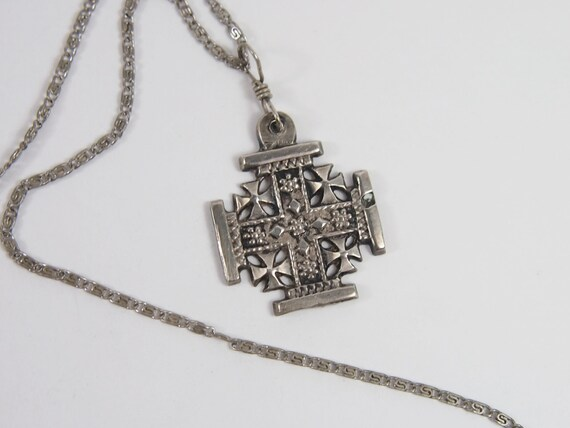 jerusalem cross silver 900 pendant necklace by jenniesjunque