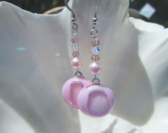 Dangling Light Pink Fused Glass Earrings