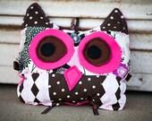 Owl Pillow in Argyle