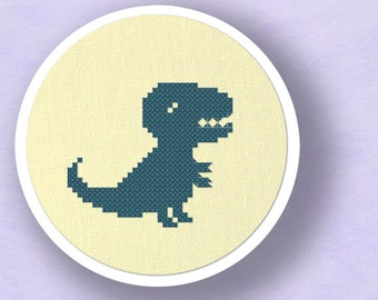 Cute Dino II. Trex Cross Stitch PDF Pattern