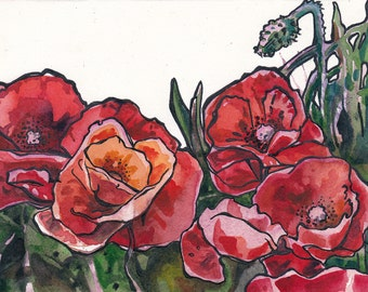 Red Poppy Painting - Original Watercolor and Ink Painting of Poppy Flowers by Jen Tracy