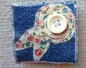 Denim and floral pin brooch with button topper