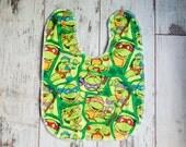 Adjustable Mega Bib - For Self - Feeders & Toddlers - Teenage Mutant Ninja Turtles - FREE SHIPPING In North America