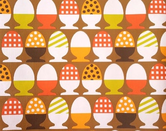 vintage wallpaper - brown orange white yellow - earthy eggs -  per yard - FOLDED
