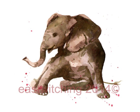 ELEPHANT Art Print, nursery decor, art for kids, elephant art, safari animals
