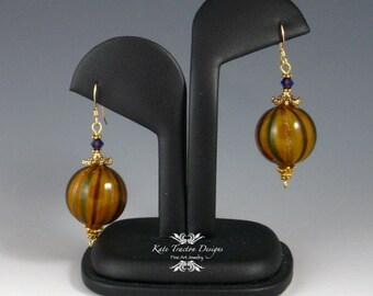 Amber Bubble Glass Earrings