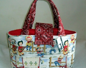 Large Michael Miller Lil' Cowpoke Diaper Bag Tote