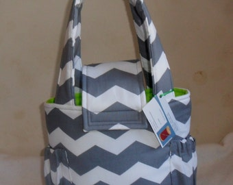 Small Gray Chevron Toddler Short Trip Diaper Bag with Lime Green Interior CHOICE OF INTERIOR