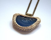 Cobalt blue Sea glass necklace with letters Valentine gift for her ooak ivory crochet textile jewelry seaglass pendant beach Weddings
