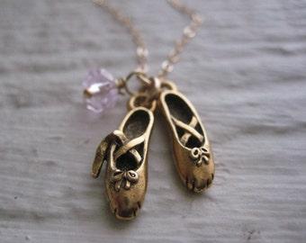 Tiny Dancer Gold Necklace- Ballet Shoes, Charm, Chain, Pink Quartz, Dance
