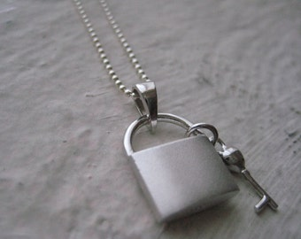 Padlock And Key Necklace- Sterling Silver, Charm, Chain, Pendant, Gift