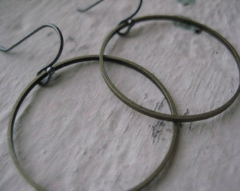 Simplicity Earrings- Brass, Hoops, Sterling Silver, Oxidized, Rings, Rustic