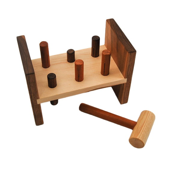 Wooden Hammer Toy, personalized peg kids tool bench toy