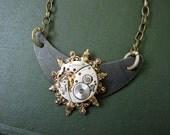Steampunk Necklace, Cosplay Jewelry, Women's Steampunk, Men, Noir, Watch Movement,  Black, Clockworks, Gears, Gothic, Goth