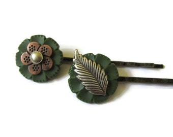 Woodland Hair Pins, Bohemian Bobby Pins, Leaf Hair Pin, Boho, Olive Green, Vintage Buttons, Floral Hair Accessories, Flower Hair Clips