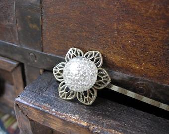 Nature Inspired Hair Pin, Honeycomb, Bobby Pin, Filigree Flower, Woodland Wedding, Bridal Accessory,  Wedding Hair Pin, White Cabochon