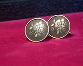 Vintage AMITA Damascene Gold Tone Screw-Back Earrings