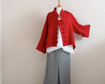 linen outfit three pieces handmade to measure petite to plus size / red linen jacket / white linen top / gray linen pants / custom color