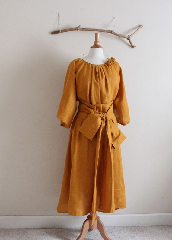 custom linen many moods dress  with 1 linen obi made to fit listing
