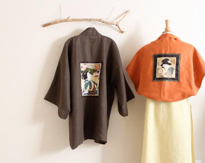 heavy linen jacket haori inspired with geisha panel / free size linen haori /