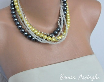 Bridal Yellow and Dark Gray Glass Pearl Necklace brides bridesmaids