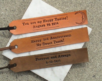 3rd Anniversary - Long Text - Personalized Leather Bookmark with a Latigo suede tassel