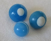 Lot of 3 ANTIQUE White & Blue Swirl Back Glass Charmstring BUTTONS
