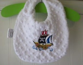 Baby Bibs-Boy-Bib-Pirate-Ship-Nuatical-Minky Dot-Savvy Baby Goodies-Kids-Toddler-Terry-Cloth-Eco-Friendly-Feeding-Boys-Gift-Ready To Ship