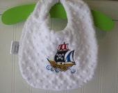 Baby Bibs-Boy-Bib-Pirate-Ship-Nuatical-Minky Dot-Savvy Baby Goodies-Kids-Toddler-Terry-Cloth-Eco-Friendly-Feeding-Boys-Gift-Ready To Ship