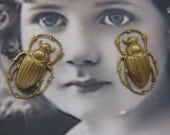 Raw Brass Large  Beetle  Stamping Pendant 820RAW x2