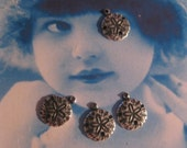 Silver Ox Plated Brass 10mm Sand Dollar Charms 663SOX  x4
