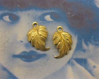 Natural Raw Brass Leaf Pendant Stampings 915RAW x2
