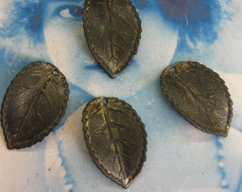 Hand Oxidized Patina Brass Leaf Charm Stampings 839HOX x2