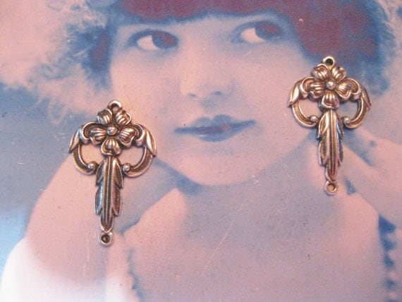 Art Deco Style Silver Ox Plated Floral Brass Connectors 462SOX x2