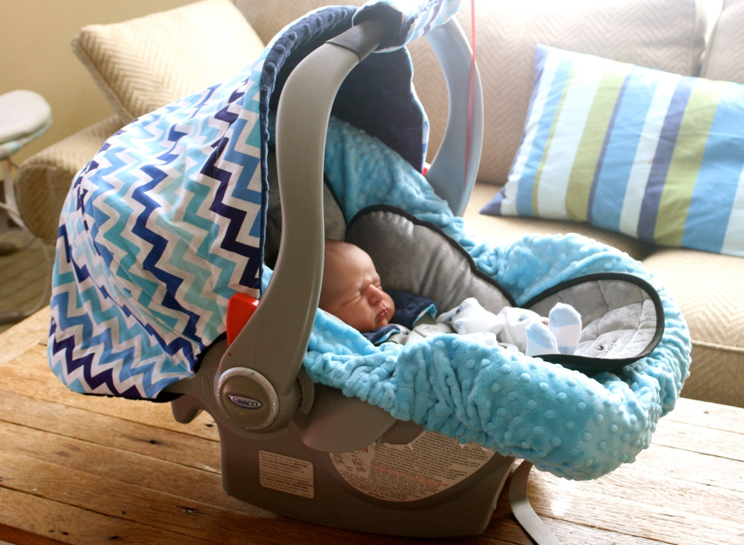 infant car seat cover baby car seat cover in surf blue and. Black Bedroom Furniture Sets. Home Design Ideas