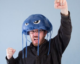 Jellyfish Hat Plush Fleece - Blue Tie Dye