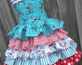 Custom Boutique Dr Seuss Cat in Hat Ruffle Dress Girl  2 3 4 5 6 7 8