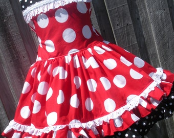 Made to Order Custom Boutique Minnie Dot Dress Mouse Vacation Cruise Disney Twirl Mickey 2 3 4 5 6 7 8