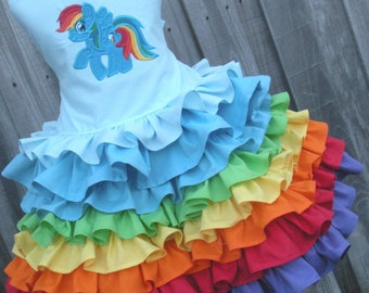 Made to Order Custom Boutique Rainbow Dash 2 Piece Set Ruffled skirt Girl 2 3 4 5 6 7 8