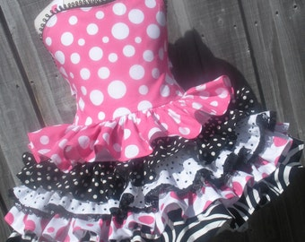 Made to Order Pink Minnie Dot Custom Girl Dress Sizes 2 3 4 5 6 7 8