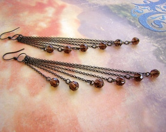 SALE - Antique Bronze and Brown Beaded 6 Strand Chain Dangle Earrings - Bella Mia Beads - READY to SHIP