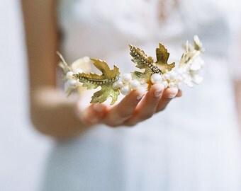 Woodland leaf pearl bridal crown - Style Sugar maple leaf no. 1968