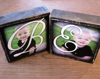 Personalized MONoGRAM Blocks for- Larger Photo Letter Blocks- TWO LARGE BLoCKS
