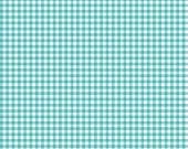 Cotton Fabric, Aqua Blue and White Gingham, 1/2 Yard, more yardage available