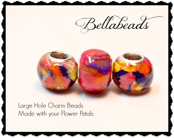 Large Hole European Style Bead,  Flower Petal Jewelry, Memorial Beads, Funeral Flowers, Large Hole Charm Bead, Round