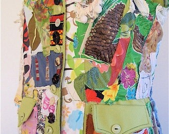 GREEN ORGANIC GARDEN Art Inspired Vest Fabric Collage Altered Wearable Vest Clothing