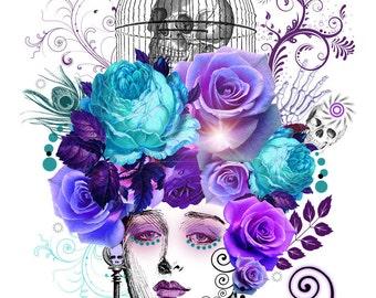 "Head Case Digital Art Collage  ""Lucinda"" Purple/Skull/Turquoise"