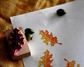 Fall Leaf rubber stamp - Hand carved and handcrated