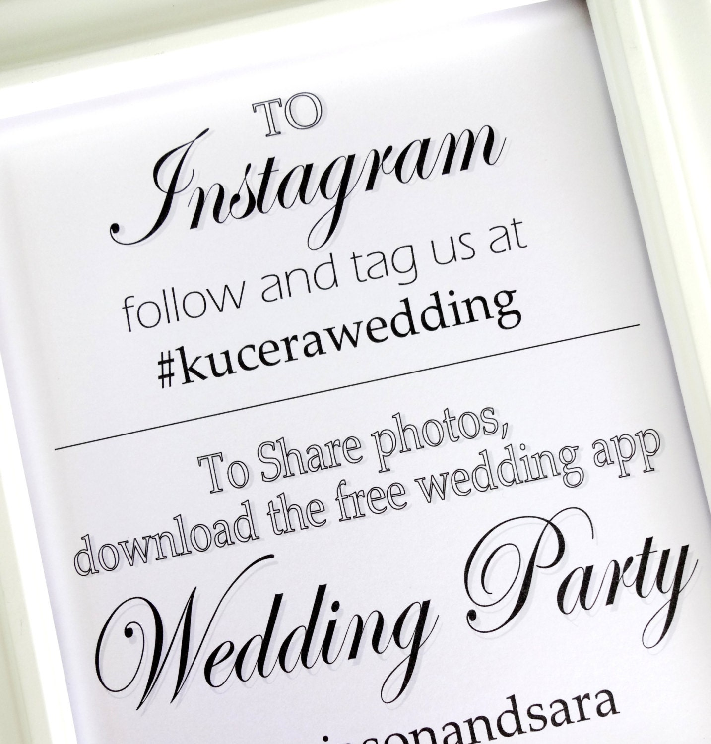 Instagram Wedding Party App 8x10 Wedding Sign White By Lilcubby