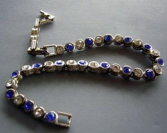 "Vintage Bracelet Bezel Set Blue & White Rhinestone Tennis Style 7"" to 8"" Extender Clasp"
